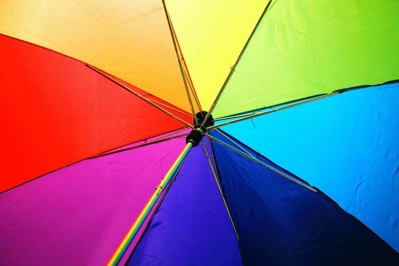 Rainbow-colored umbrella