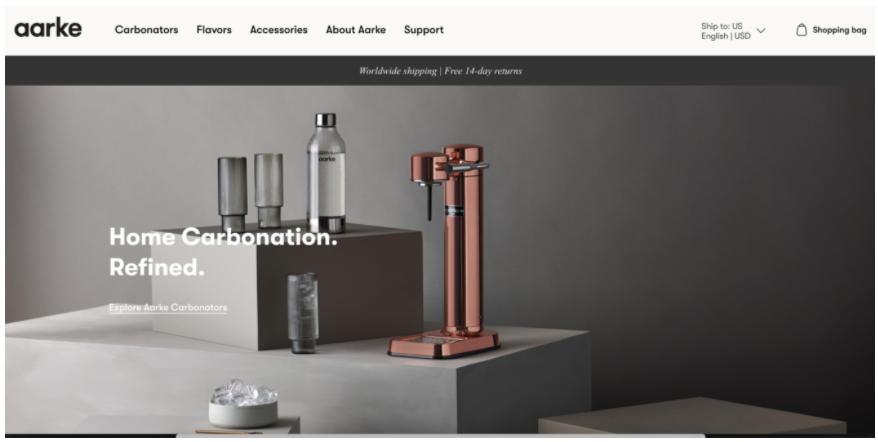 Screenshot della homepage del sito Aarke