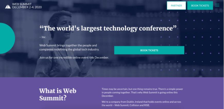Screenshot della homepage del sito eventi Web Summit