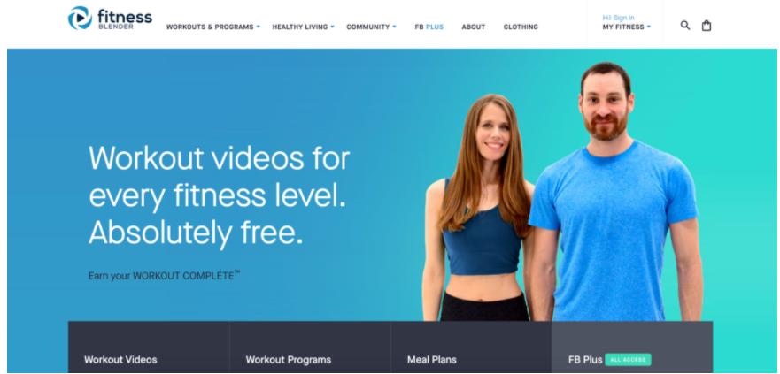 Screenshot della homepage del sito Fitnessblender