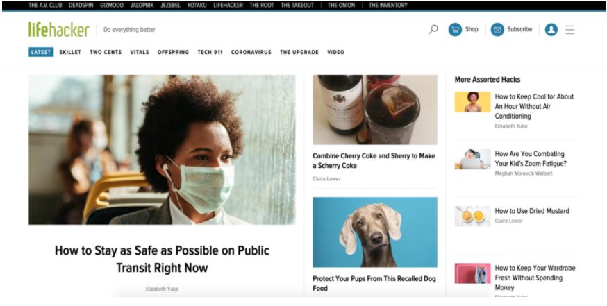 Screenshot della homepage del sito Lifehacker