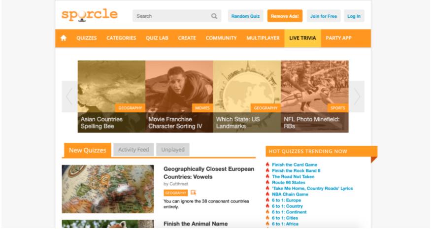 Screenshot della homepage del sito Sporcle Trivia