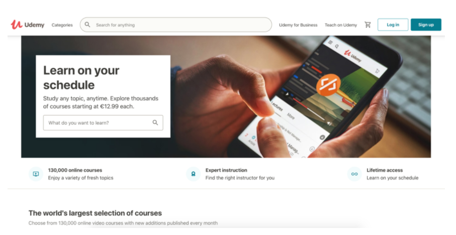 Screenshot della homepage di Udemy