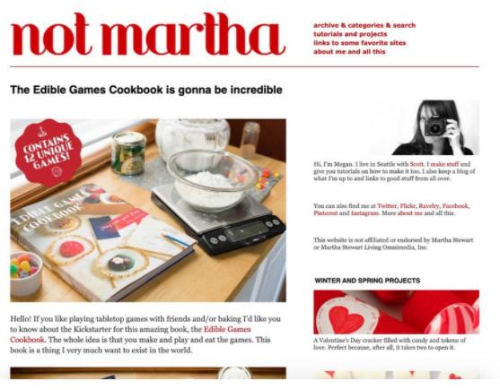 Screenshot sito di artigianato Not Martha