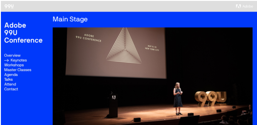 Screenshot del sito di conferenze 99u