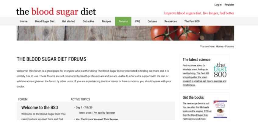 Screenshot del sito forum The Blood Sugar Diet