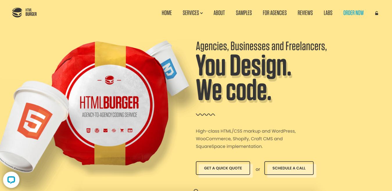Screenshot del sito web dell'azienda HTMLBurger