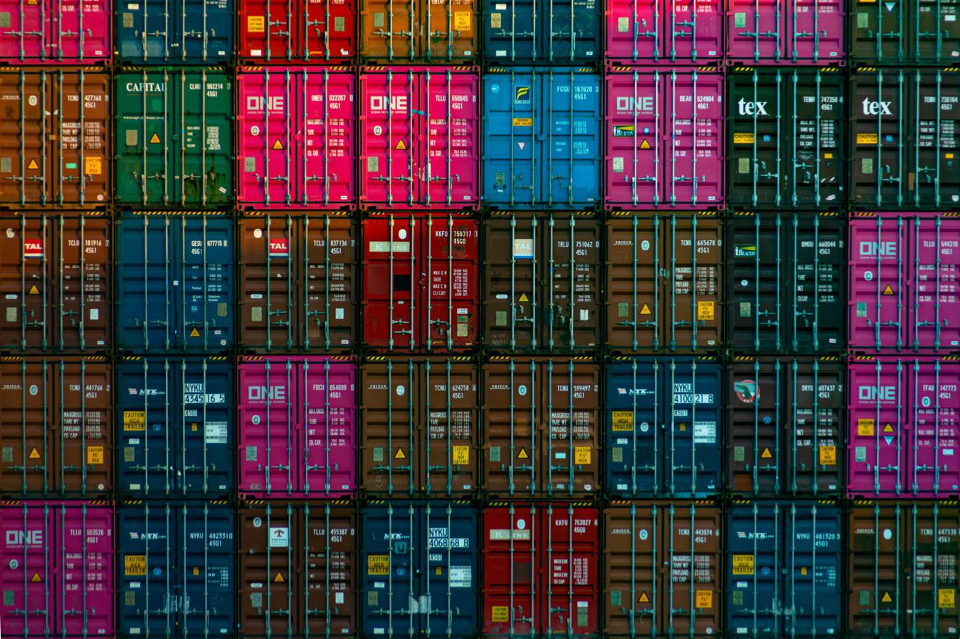 close up shot of stacked shipping containers