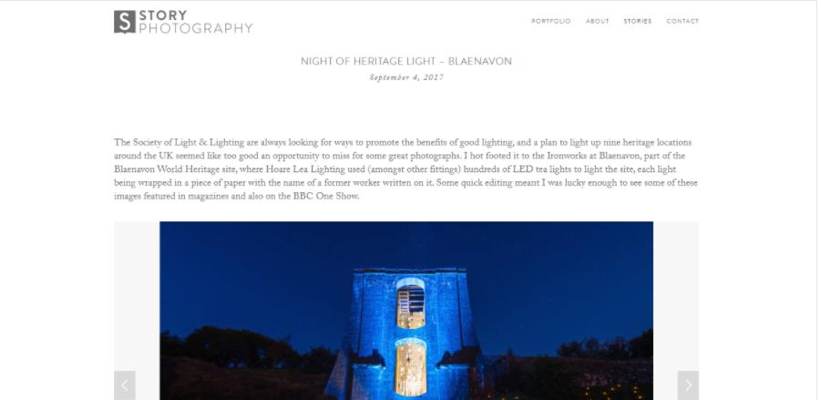 Uno dei post di Story Photography, una foto con la sua descrizione