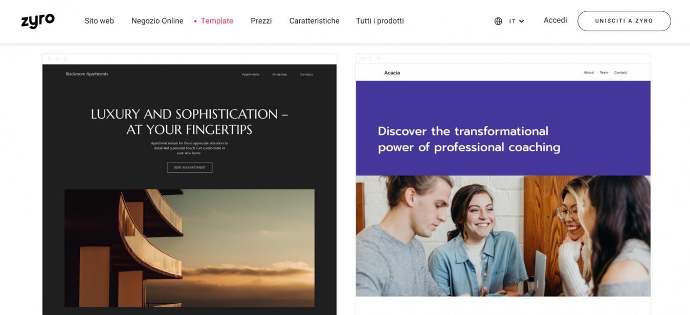 Template costruttore di siti web zyro