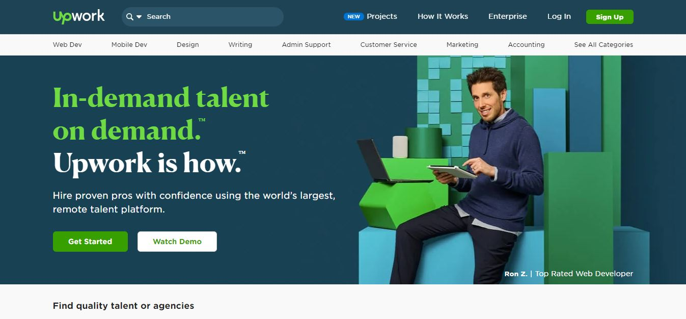 upwork website homepage