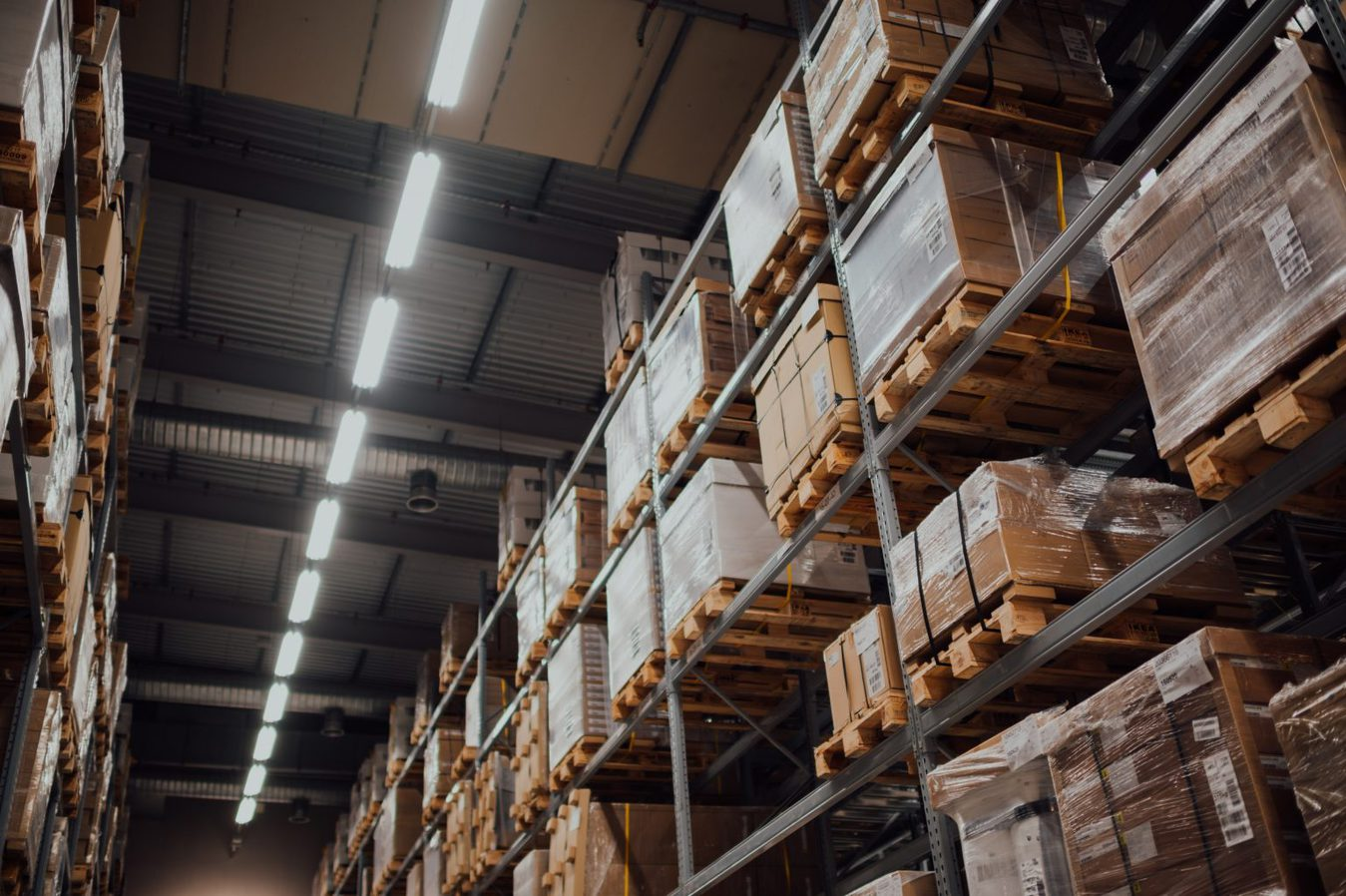 warehouse shelves filled with boxes