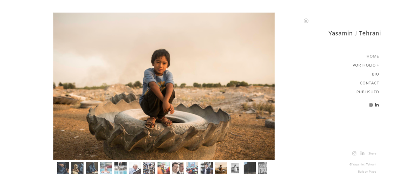Homepage del portfolio fotografico di Yasamin J Tehrani