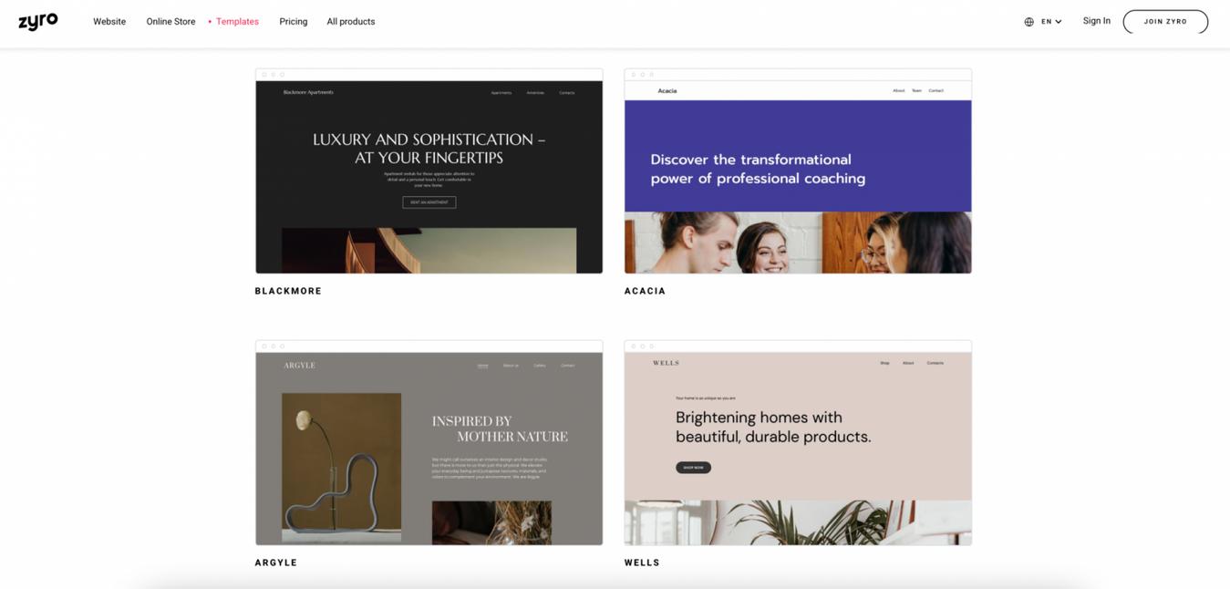 Zyro Website Bouwer Templates