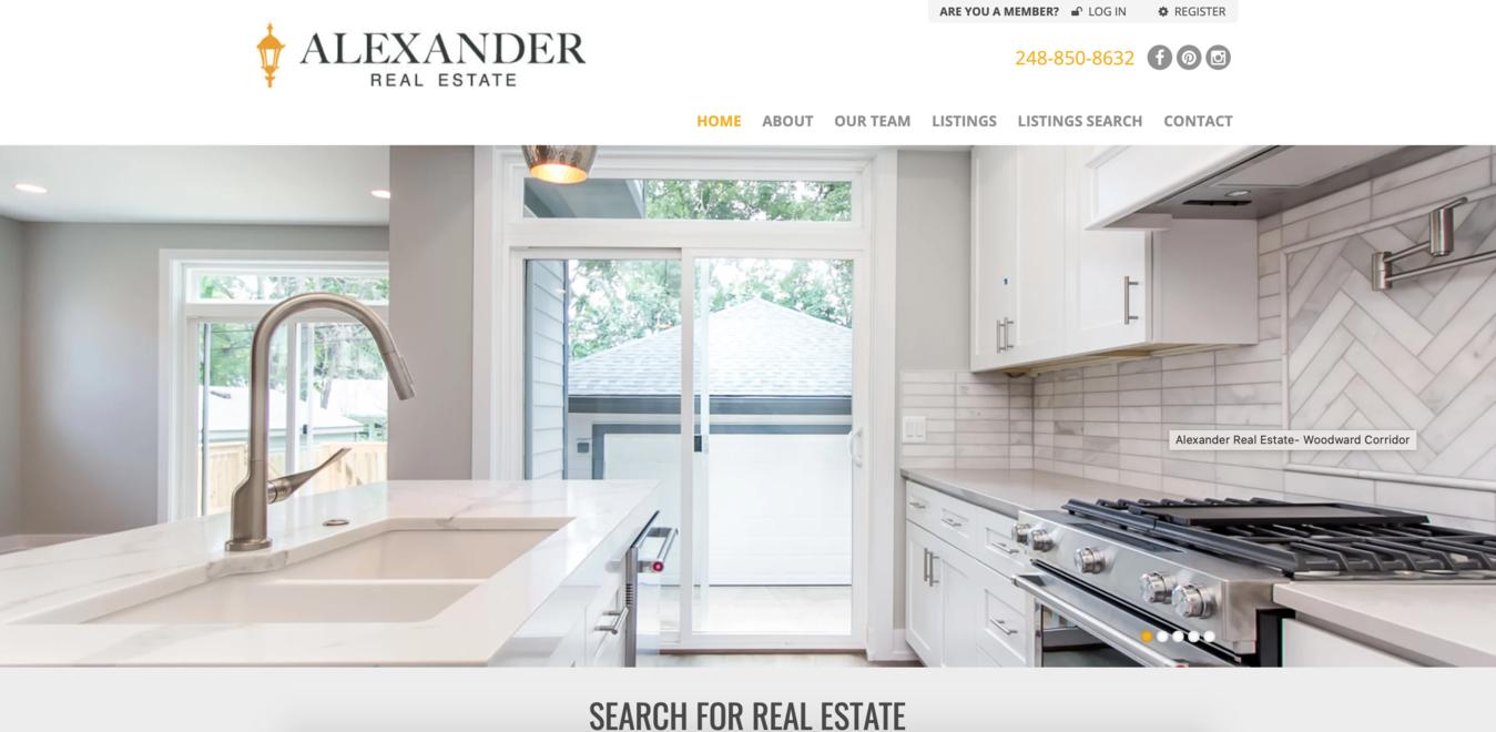 Página inicial do site Alexander Real Estate