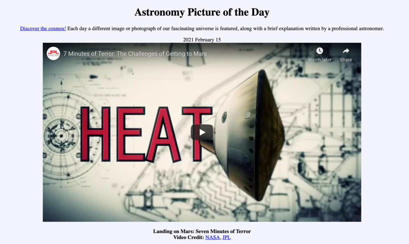 Astronomy Picture of the Day landing page
