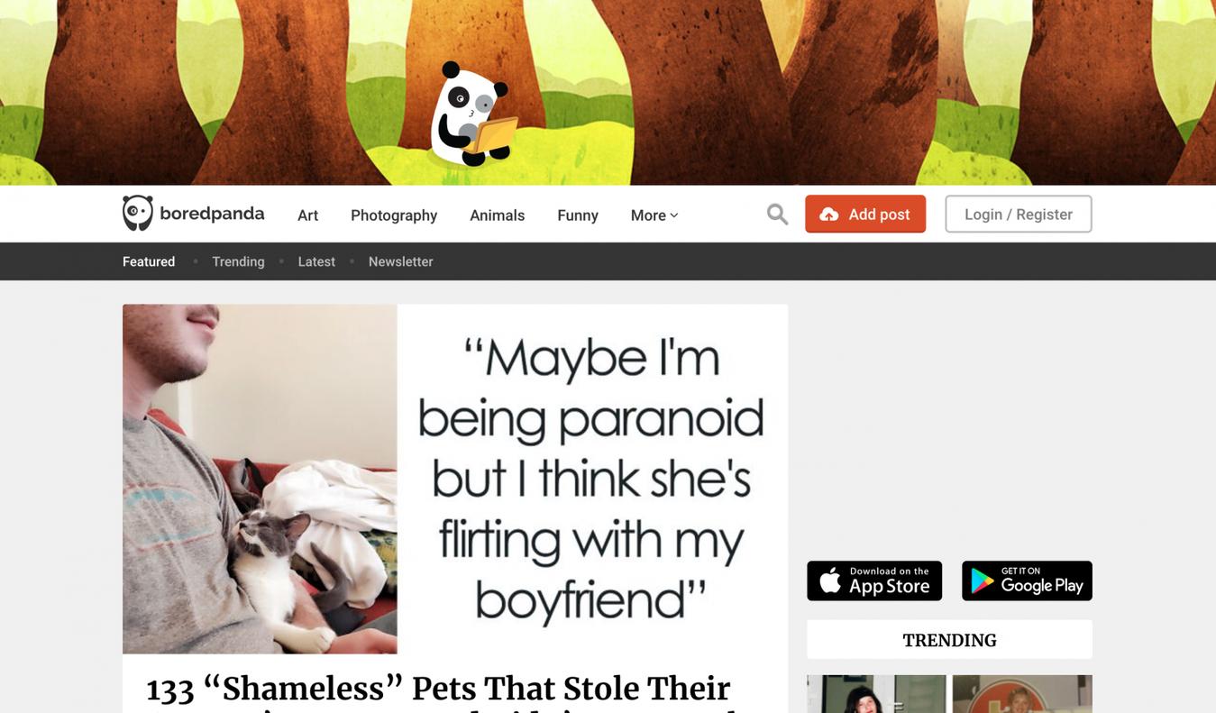 Bored Panda landing page