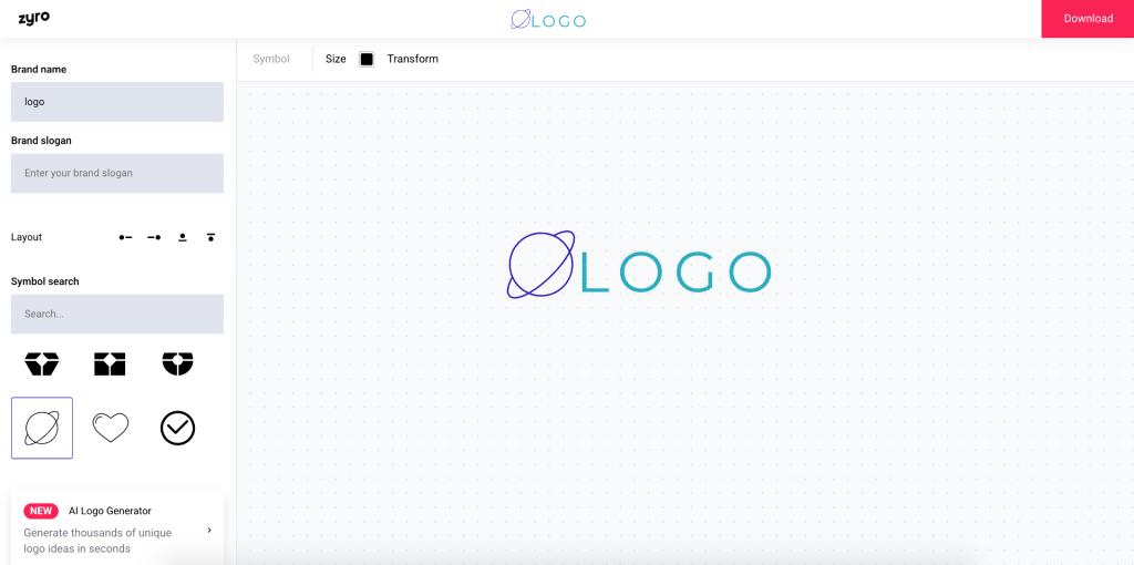 Creatore logo Zyro