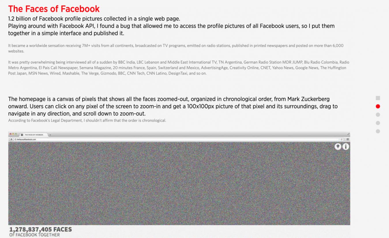 Faces of Facebook on Natalia Rojas' website