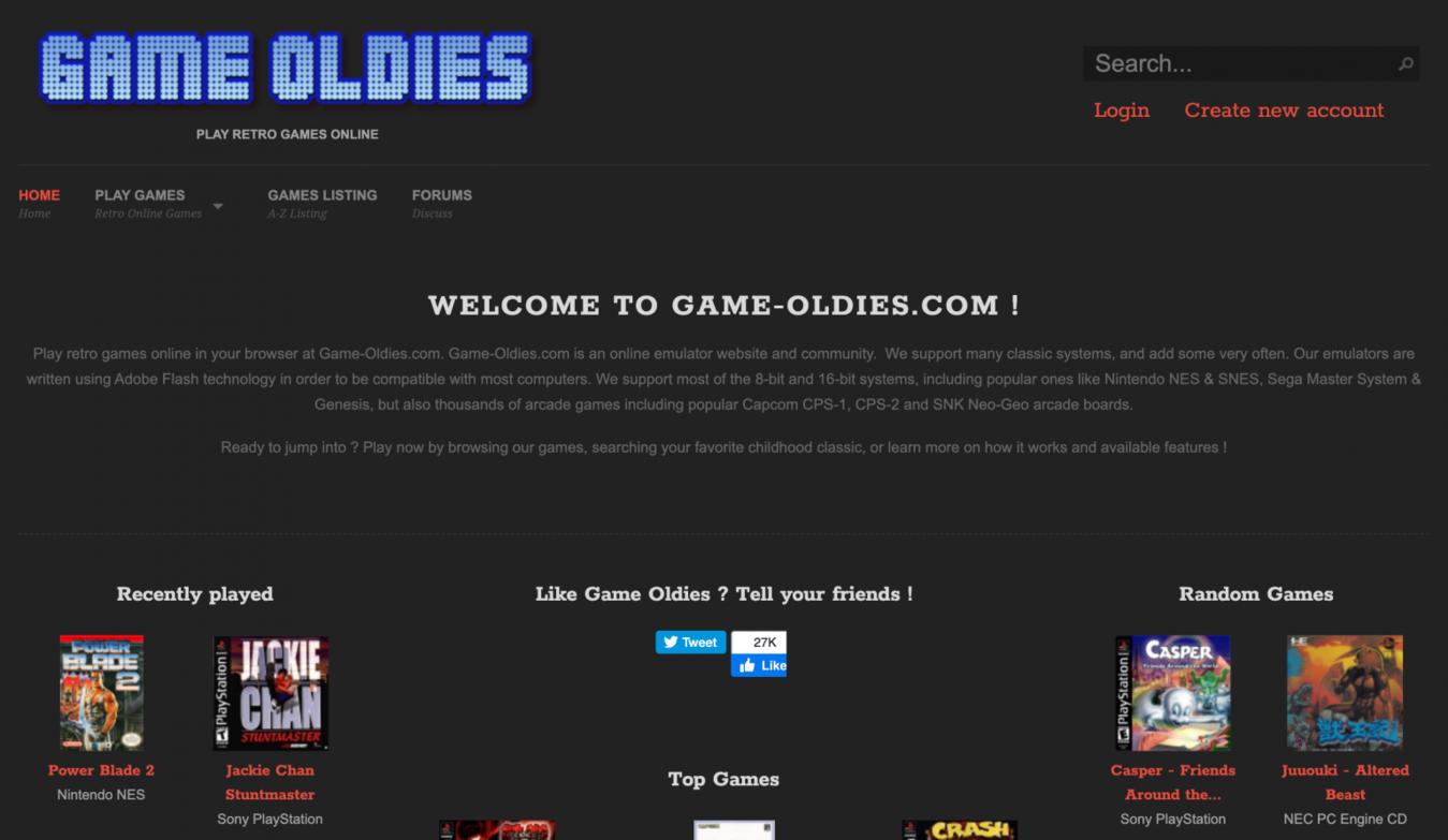 Game Oldies landing page