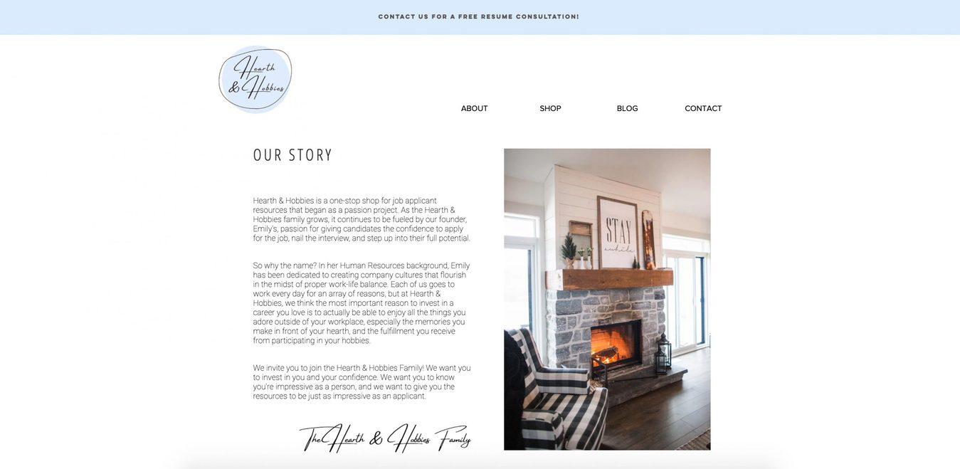 Página do site Hearth&Hobbies