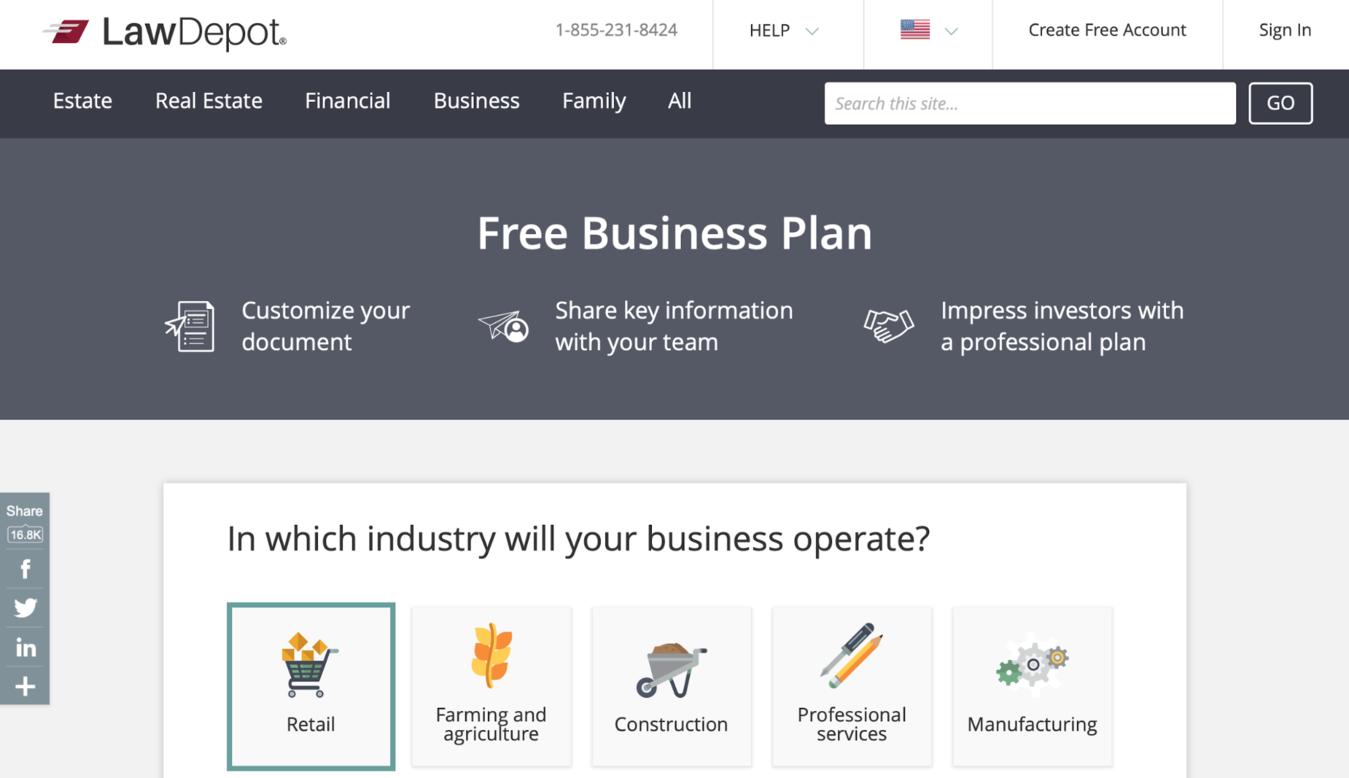 Rencana bisnis dari Law Depot