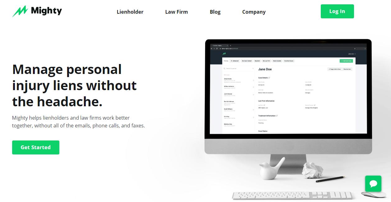 Un esempio di un sito web aziendale con un'evidenziazione verde brillante di Mighty