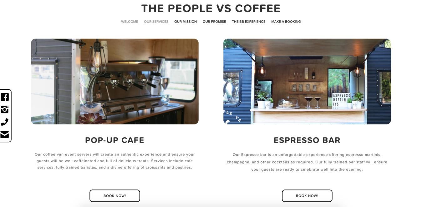 Screenshot del sito The people vs Coffee