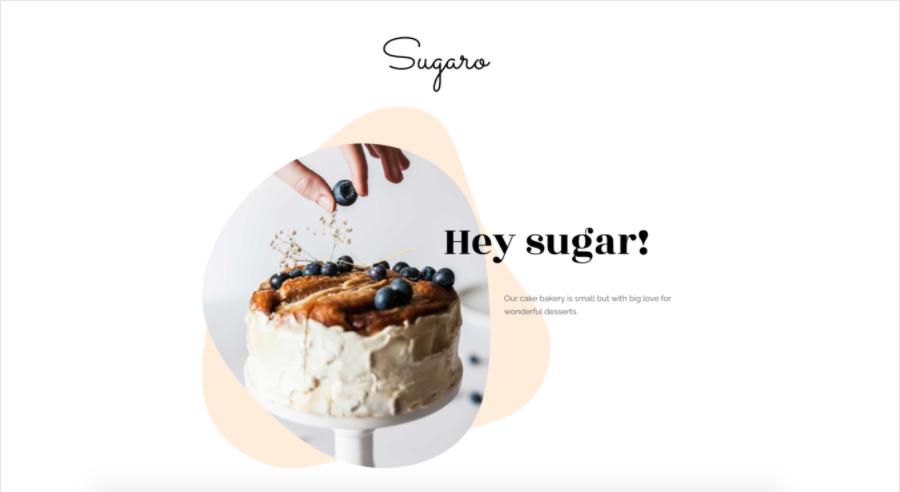 Screenshot del sito Sugaro di Zyro hero