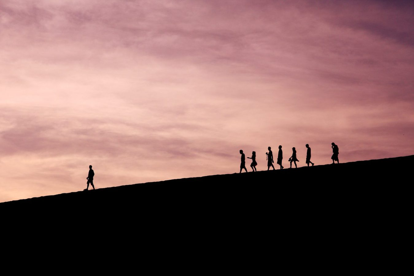 silhouette of person leading group over landscape