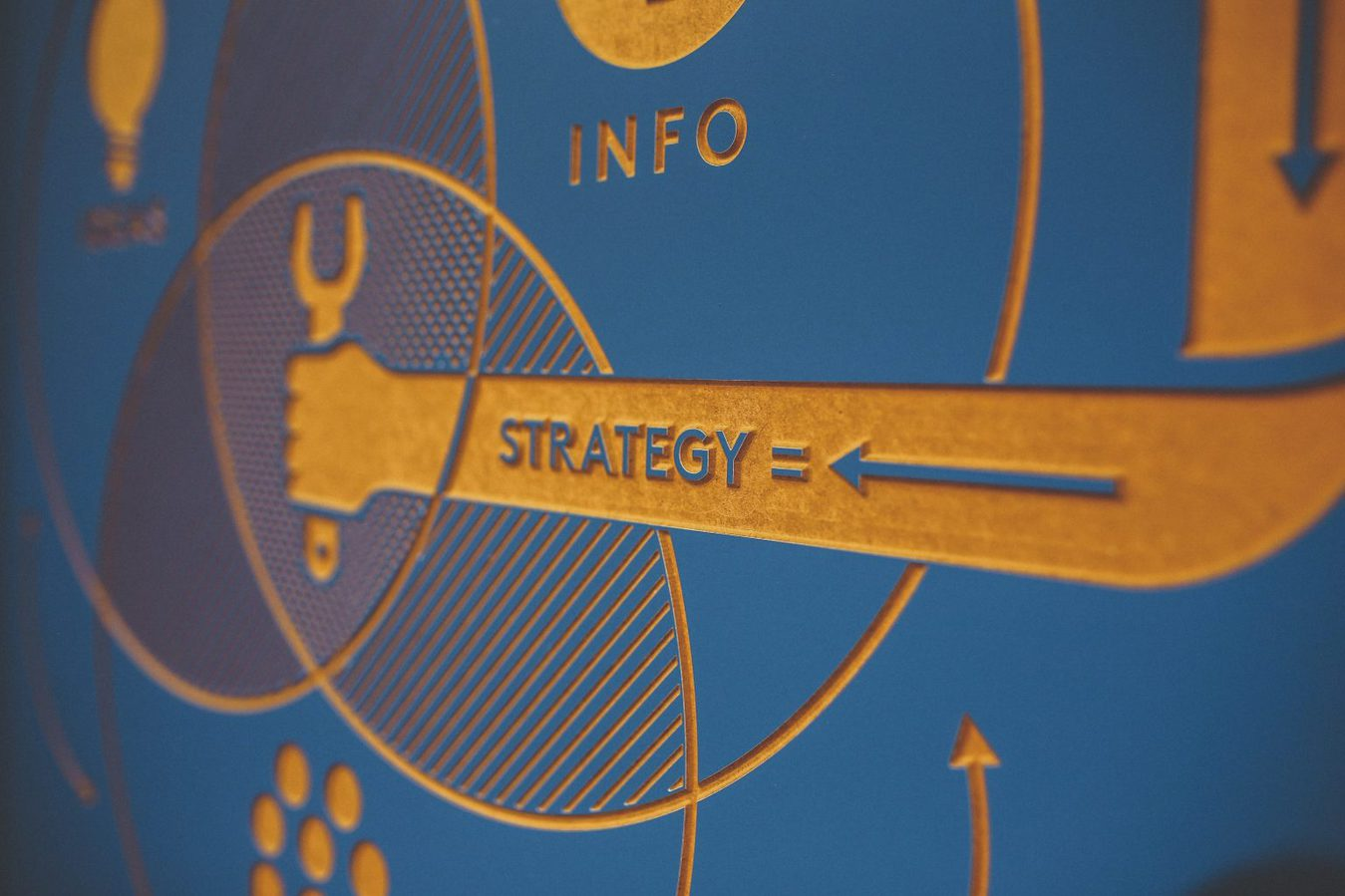 Close up of a venn diagram pattern saying 'info' and 'strategy'