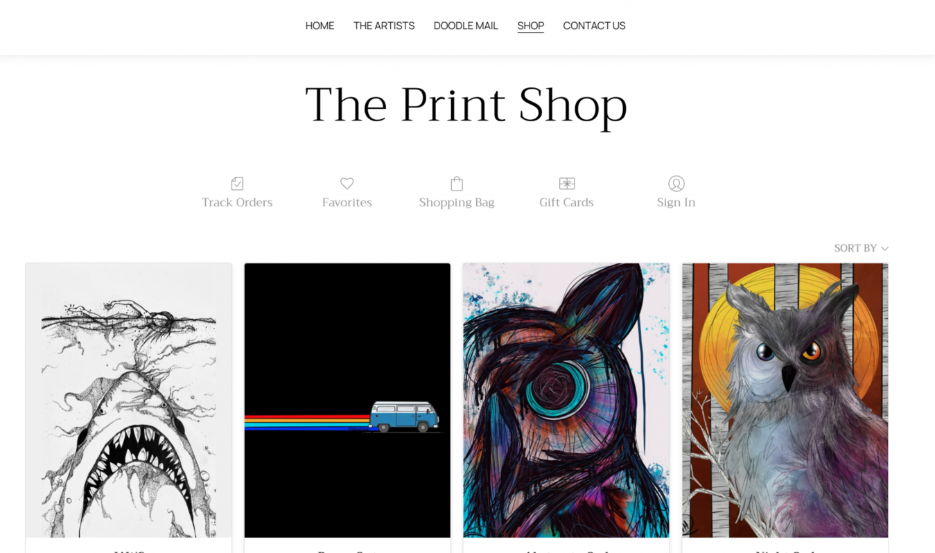 The Daily Doodle Store page