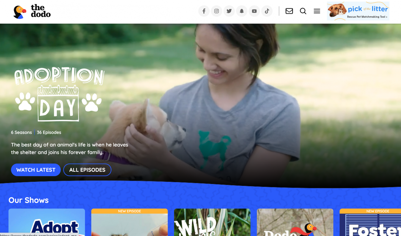 The Dodo landing page