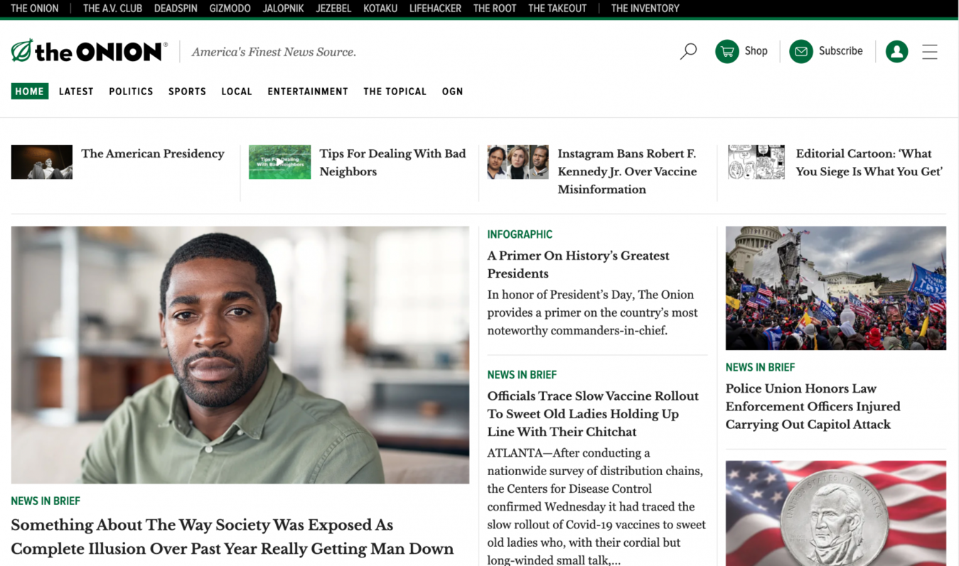 The Onion landing page