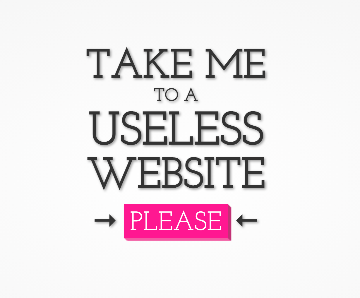 The useless website landing page