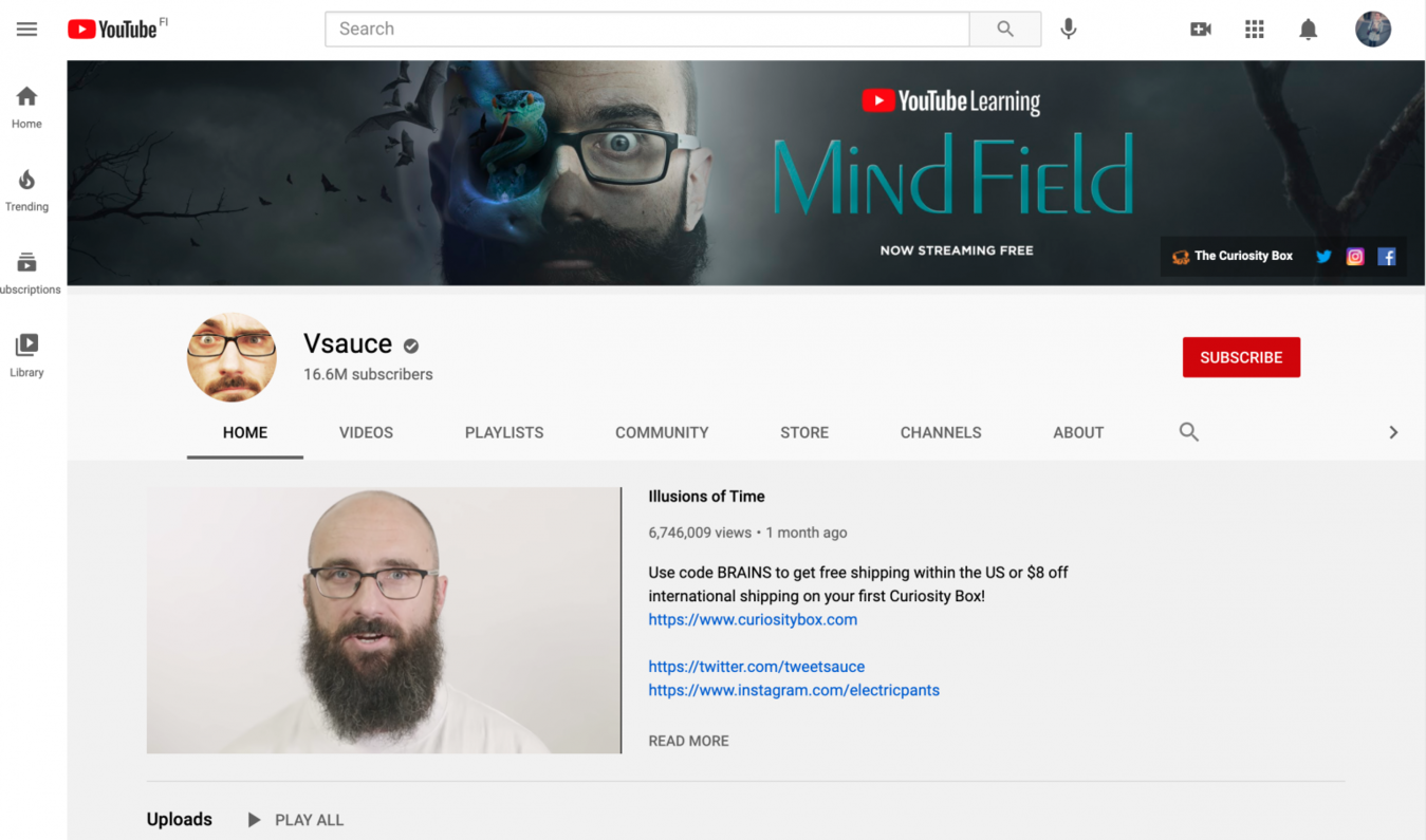 Vsauce YouTube channel