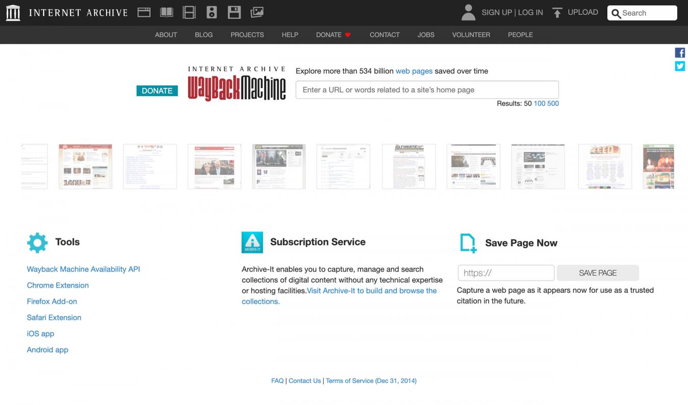 Wayback Machine landing page