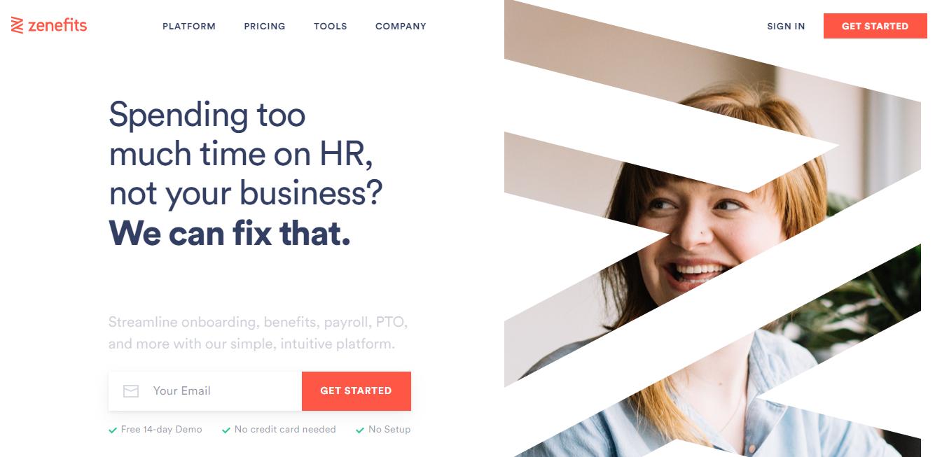Um exemplo de site de empresa usando a cor laranja como contraste, feito por Zenefit