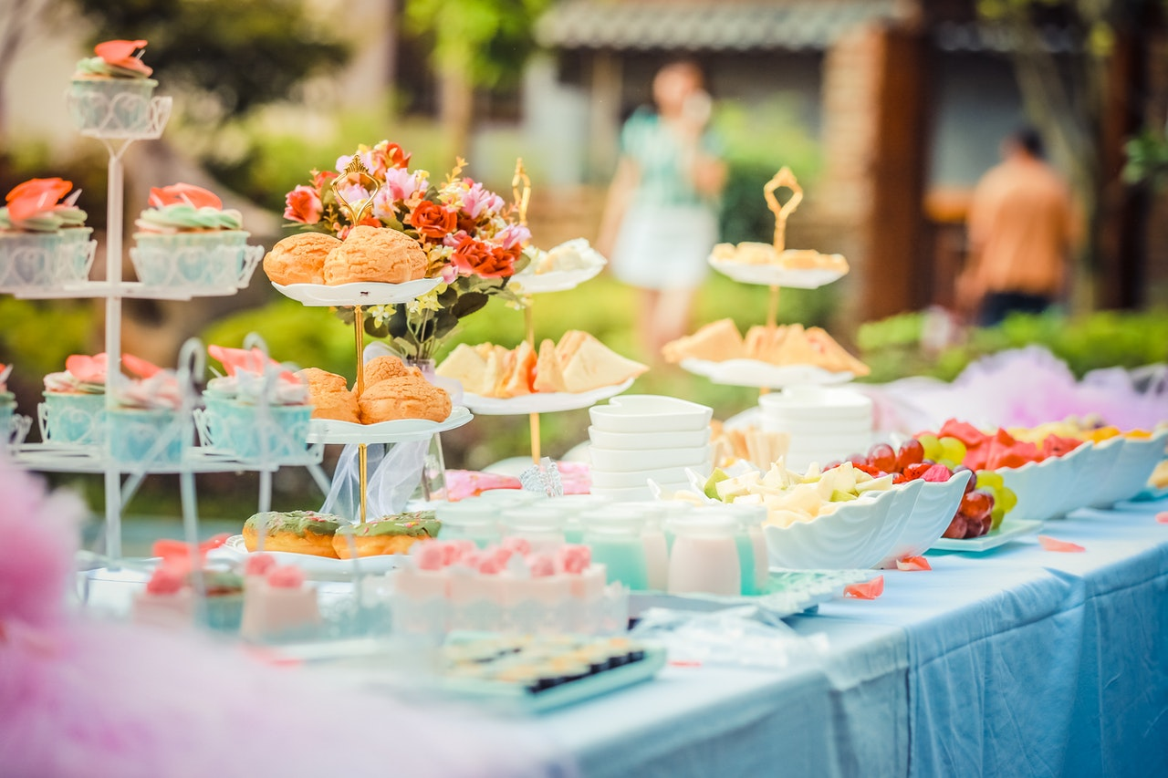 Cake trays outside on tables
