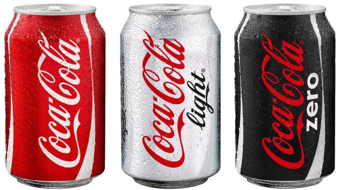 Logo da Coca-Cola normal, light e zero