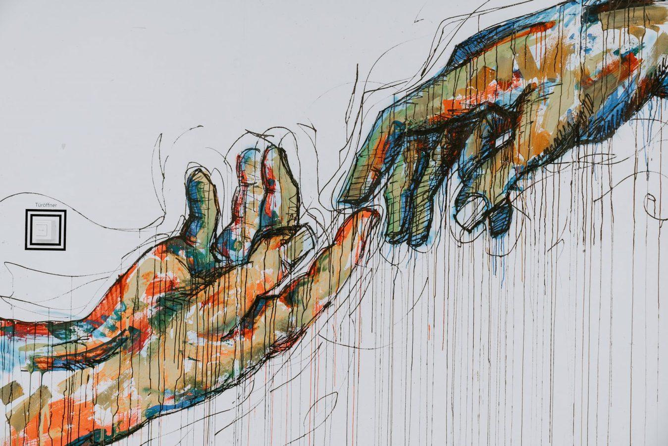 Davinci Touch-schilderij als kleurrijke graffiti
