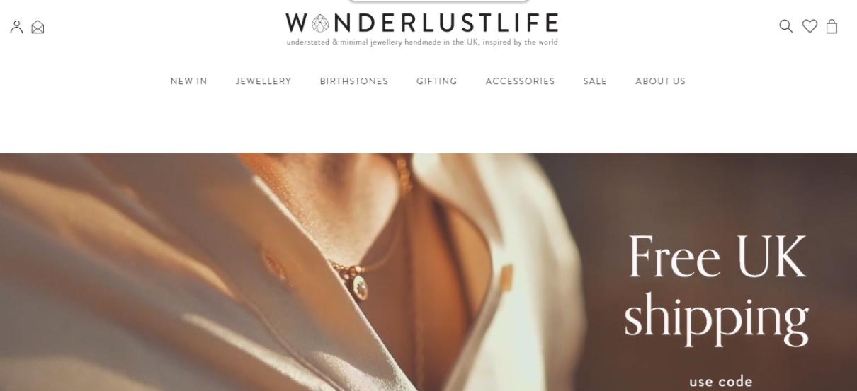 Exemplo da loja virtual Wanderlust Life
