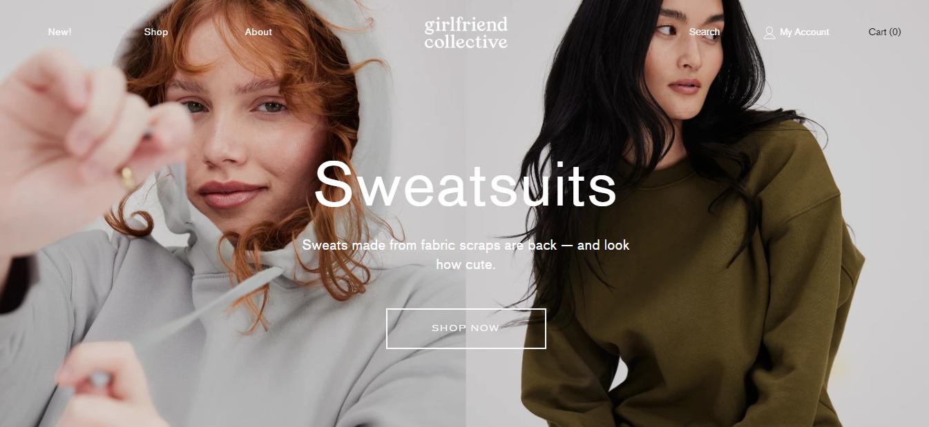 Exemplo da loja virtual Girlfriend Collective