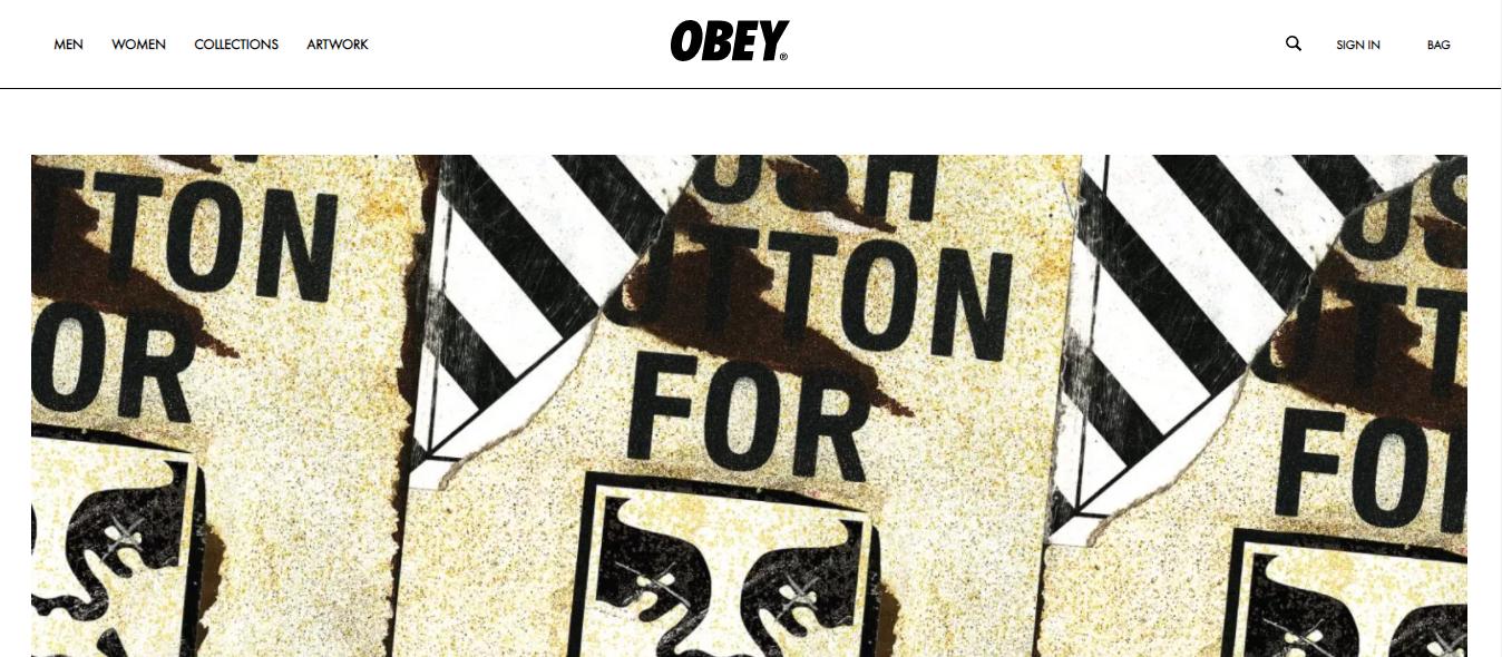 Exemplo da loja virtual OBEY