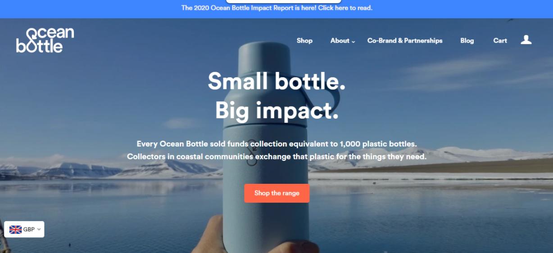 Exemplo da loja virtual Ocean Bottle