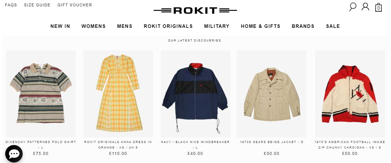 Exemplo da loja virtual Rokit