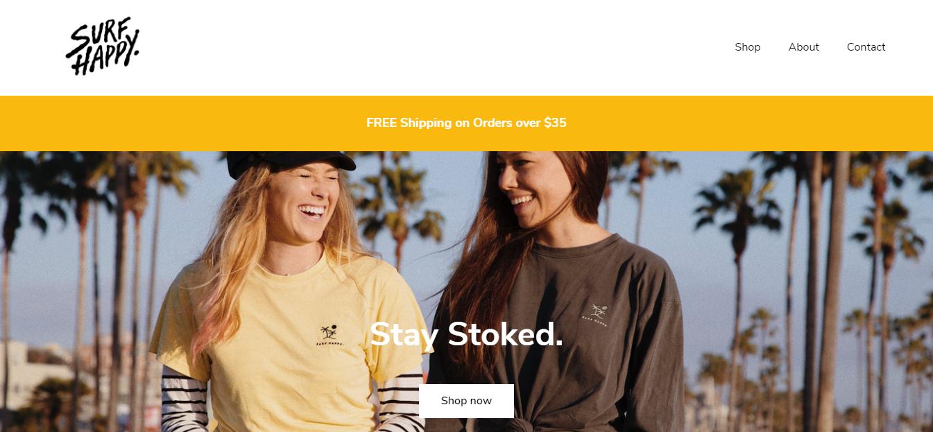 Exemplo de loja virtual Surf Happy