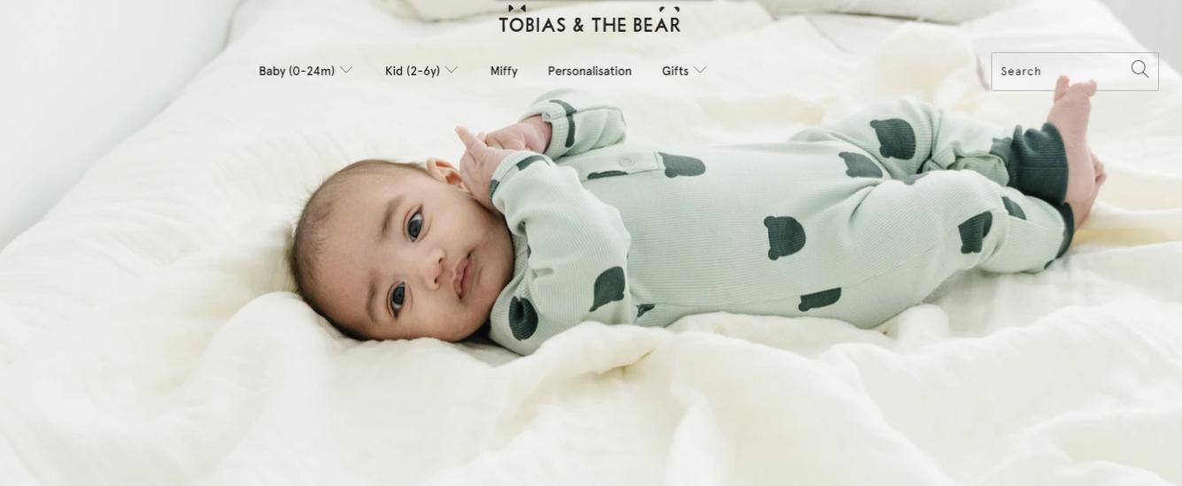 Exemplo da loja virtual Tobias And The Bear