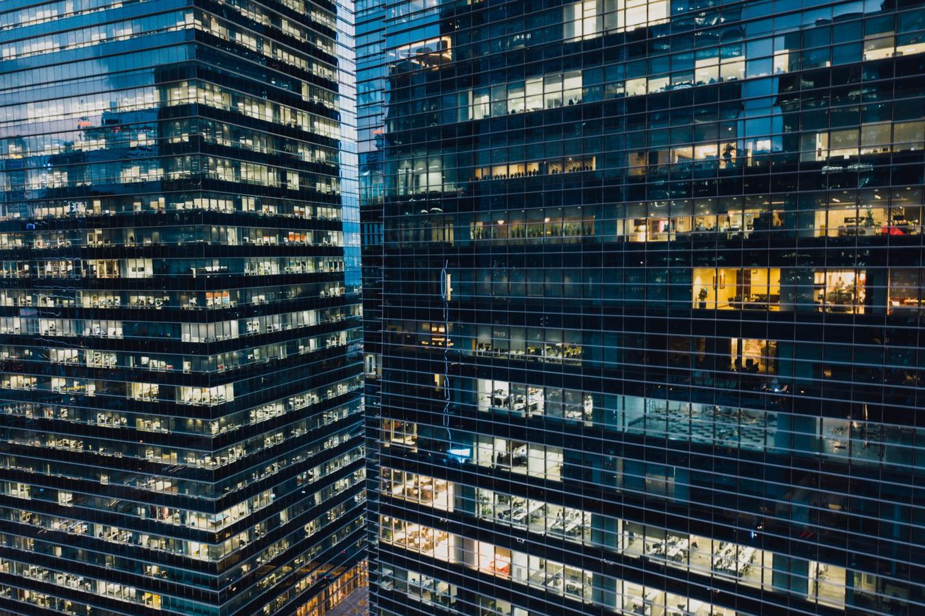 high-rise office buildings at night