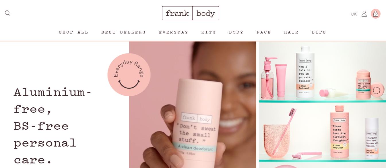 Homepage del sito Frank Body uk